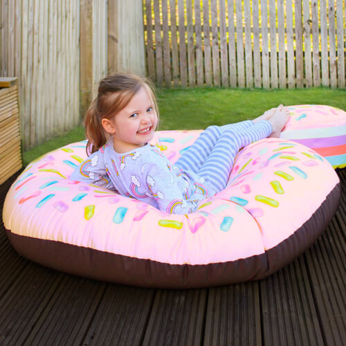 Strawberry donut kids beanbab in garden