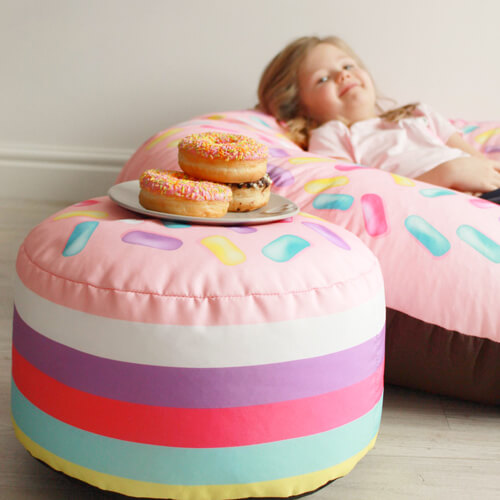 Strawberry Donut beanbag with strawberry donut hole kids stool