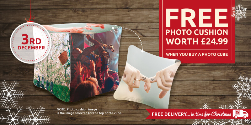 Get a FREE Photo Cushion when you buy a Photo Cube