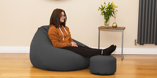 Grey Slouchbag bean bag with matching footstool