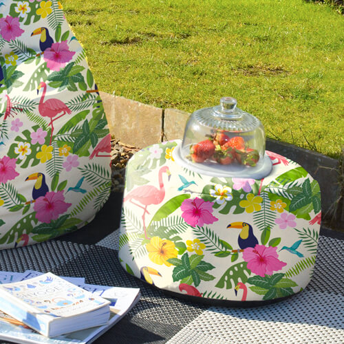 Tropical Birds Outdoor Footstool used as side table