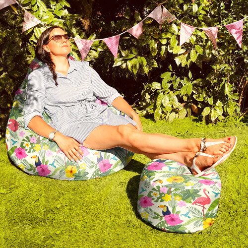 Tropical Birds Outdoor Footstool with Beanbag