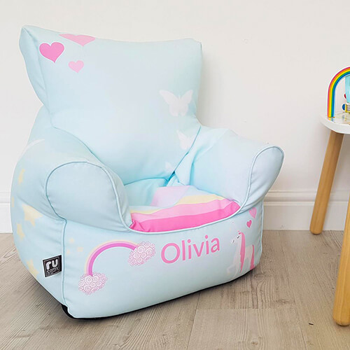 Personalised unicorn toddler bean bag chair