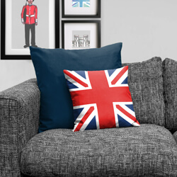 Union Jack Cushion on sofa