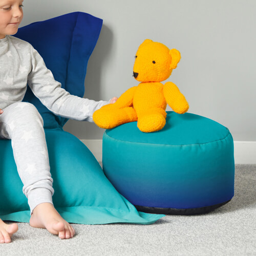 Child and Teddy With Footstool