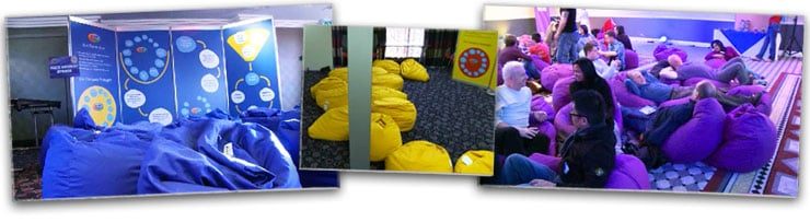 Hired Multi Coloured Beanbags Meeting Event